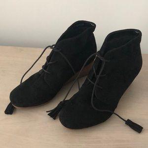 Sz 8.5, Dr. Scholls, Black Suede wedge shoes